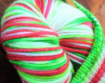 Ice dyed dk weight self striping Christmas yarn - *sparkly* - in stock!