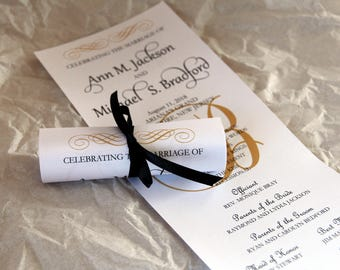 Double Sided Mini Scroll Wedding Programs