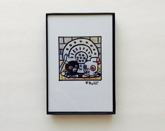 Art, Fantastic Mr Fox, Print, Ash and Kristofferson, 4 x 6 inches, Wes Anderson, movies, film geek, Jason Schwartzman, framed artwork, wall