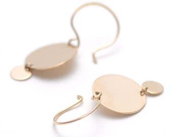 Delicate Gold Disc Earrings, Dainty Gold Earrings, 14k Gold Fill Disc Earrings, Minimal Gold Earrings, Gift for Her - Portal Earrings