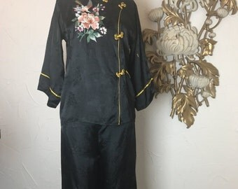 Fall sale 1940s pajamas asian pajamas blouse and pants 1940s loungewear vintage pajamas black pajamas