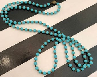 1960s necklace flapper necklace 60s does the 20s turquoise beads vintage necklace 1920s style necklace