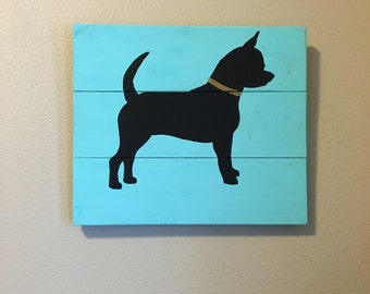 Chihuahua Silhouette - Handpainted Wood Sign