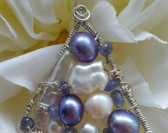 Wire wrapped Sterling one-of-a-kind Tanzanite Pearl Triangle Pendant