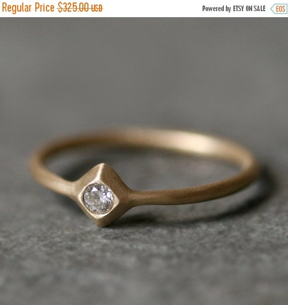 30% OFF WINTER SALE Small Pyramid Solitaire Ring in 14K with Diamond