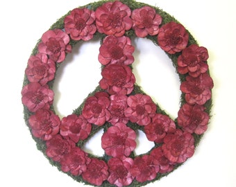 Upcycled Green and Red Dried Flower Peace Sign Wreath