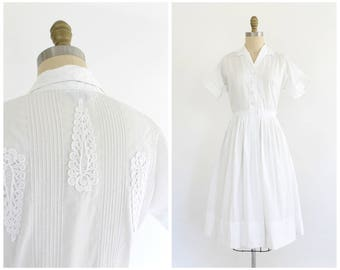 vintage 1950s white cotton pintuck back shirtwaist dress | 50s white dress | vtg cotton day dress | small