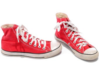 CONVERSE High Tops Shoes Red Sports Shoes Sneakers Vintage 90s Classic  US men 7.5 US women 9.5 Uk 7 Eur 40