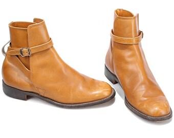 Leather CHELSEA Ankle Boots 70s Luxury Western Booties Vintage Grunge Beige Roper Boot Work Riding Cowboy Retro US men 10.5 UK 10 Eur 44.5