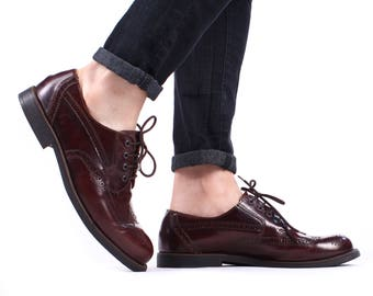 Men's Brogues Shoes BURGUNDY Brown Leather Shoes 80s Classy Perforated Derby Oxford Wing Tip Shoe Men Gift sz Us men 8.5, Uk 8, Eur 42