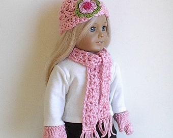 18 Inch Doll Clothes - Crocheted Hat, Scarf and Knit Mitten Set in Soft Pink Handmade to Fit the American Girl and other 18 Inch Dolls