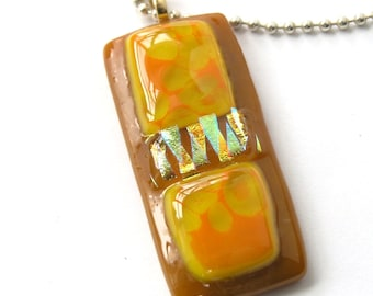 Tangerine Dreams - Sunny Fused Glass Pendant Necklace -  Warm Caramel & Gold Pendant - Layered Dichroic Gold Triangles - Sun Yellow