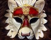 Armored White Lion Mask number 3 ... handmade original leather mask masquerade mardi gras steampunk halloween burning man costume GOT