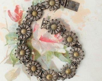 Vintage 800 Sterling Bracelet Links Flower Daisy