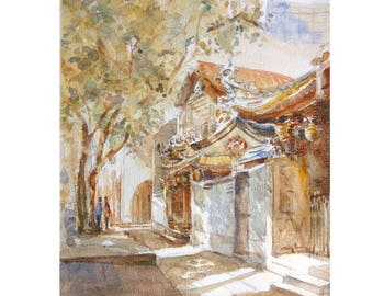 Temple, asia, peinture original watercolor painting id20170426 oriental,  ancient architecture wall art, not a print, landscape,