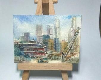 Change,  street scene, Singapore, original aceo watercolor painting, atc id20170424 old architecture miniature art landscape