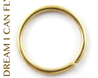 8mm 20g 18K Gold Nose Ring / Cartilage Hoops - 8mm Seamless Hoop earrings in 20 gauge solid 18K yellow, rose or white gold