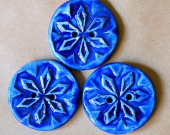 3 Handmade Stoneware Snowflake Buttons - Winter Blue Buttons in Gloss Blue Glaze - Artisan Focal Buttons with Textural Winter Snowflakes