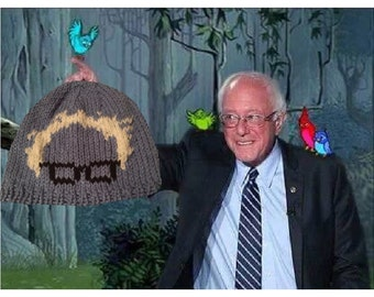 Hand knitted adult Bernie Sanders beanie. Feel the Bern. Protest march. Still Sanders hat