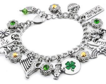 St. Patricks Day Bracelet, Saint Patricks Day Charm Bracelet, Leprechaun Bracelet, Four leaf Clover charms, Claddagh Bracelet