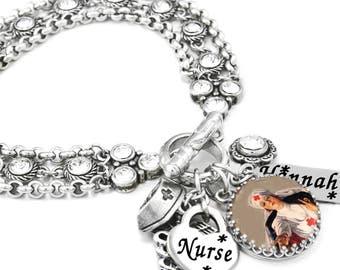 Nurse Jewelry, Personalized Nurse Bracelet, RN Jewelry, LPN Bracelet, Custom Nurse Charm Bracelet, Gift for Nurse, Caduceus