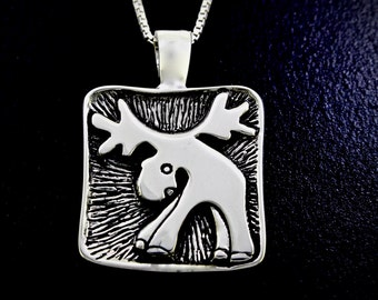 Happy Moose Necklace, Moose Themed Necklace, Sterling Silver Pendant with Box Chain, Eco- Friendly Recycled Silver