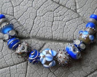 Blue Gray Lampwork Beads by Cherie Sra R114 Flameworked Glass Bead Lapis Blue Gray Lampwork Bead Double Helix Silver Glass Dots Scrolls