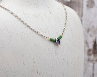 Purple and Green Teardrop Bar Necklace