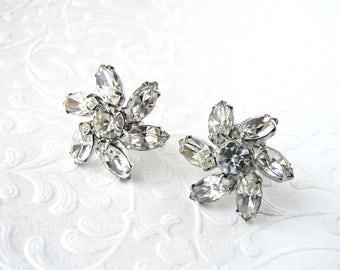 DUANE Marquis Rhinestone Flower Screw Back Earrings Wedding Bridal Formal 1950s Vintage Costume Jewelry Pageant Ballroom Prom Floral Flowers