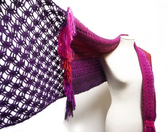 Handwoven and Crochet Shawl Scarf - Pink Purple Red Black Multicolor Wool and Kid Mohair Stole with Purple Crochet Lace