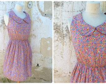 Vintage 1980s light floral garden tea time Peter Pan collar dress size XS