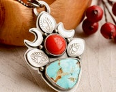 Natural Turquoise Necklace, Red Coral Necklace, Modern Boho Style Silver Necklace, Hand Stamped Metalwork