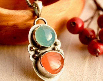 Carnelian Necklace, Blue Chalcedony Pendant, Blue Stone Pendant, Orange Stone, Gift for Her, Handmade Artisan Metalwork, Boho Chic Necklace