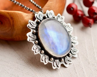 ON SALE This WEEK - - - Rainbow Moonstone Necklace, Botanical Jewelry, Moonstone Jewelry, Statement Necklace, One of a Kind Metalwork