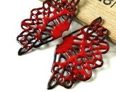 Red Enamel Filigree Connector Charms
