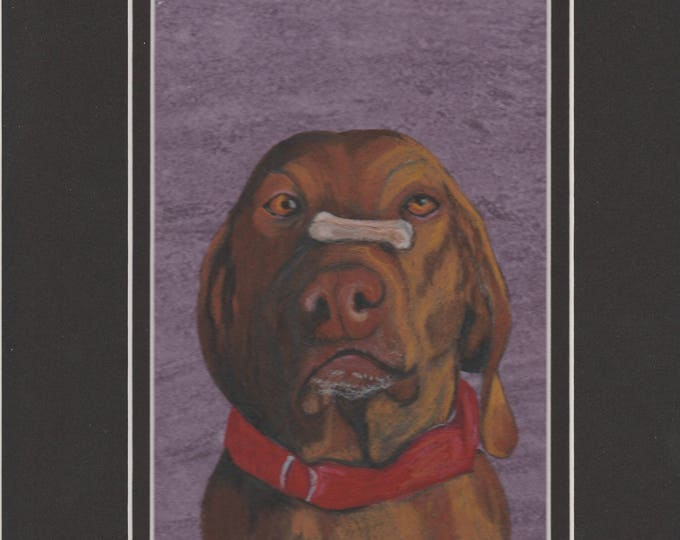 Poise cute dog portrait original art