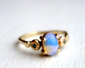 14k Gold and Opal Handmade Pebble Ring with two Blue Diamonds - Recycled Gold One of a Kind RIng