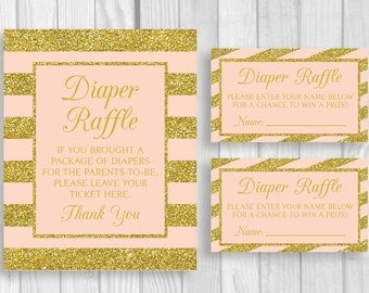 Printable 8x10 Baby Shower Diaper Raffle Sign and Sheet of 3x5 Raffle Tickets in Pink and Gold Glitter Stripes - Instant Download