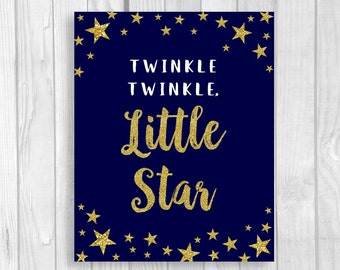 Twinkle Twinkle Little Star Printable 5x7 or 8x10 Baby Shower Sign or Nursery Wall Art - Midnight Blue and Gold Glitter - Instant Download