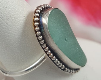 Aqua Sea Glass Ring Aqua Beach Glass Ring Sea Glass Jewelry Beach glass Jewelry Sea Glass Ring Size 7  - R-136