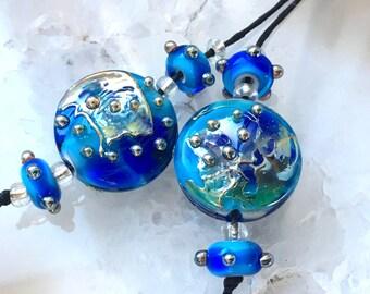 Earring Pair Blue Bling Spree Lentils, Lampwork Bead Set, Handmade Lampwork Beads,  Glass Beads by Beadfairy