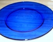 """Large Cobalt Blue,Round Serving Tray 12"""" Party Glass Tray"""