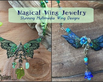 Magical Wing Necklace Tutorial.  How to DIY Craft Angel or Fairy Wing Jewelry in Plastic.