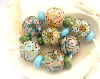 7 Etched Handmade Lampwork Beads & 8 Spacers