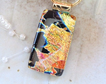 Gold Necklace, Dichroic Pendant, Fused Glass Jewelry, Necklace Included, A11