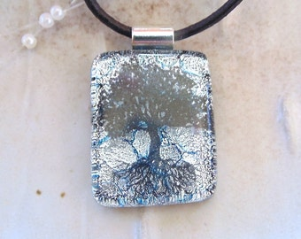 Tree of Life Dichroic Glass Pendant, Petite, Fused Glass Jewelry, Silver, Necklace Included, A1