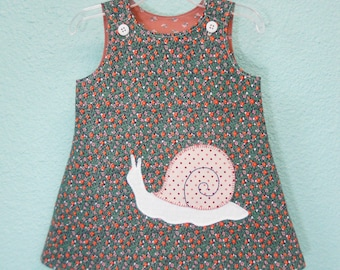 Toddler dress (in size 2T) with snail applique, baby jumper dress, A line dress, vintage reclaimed, Eco fashions, photo fashions, floral
