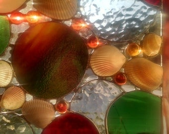 Sea Shell Stained Glass Panel