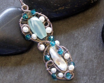 Gemstone Pendant, Pearls, Chalcedony, Swarovski Crystals, Sterling