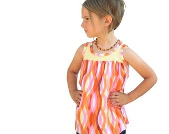 Girl Sleeveless Blouse PDF Sewing Pattern, The Ijsje Top Sized 2y to 12y